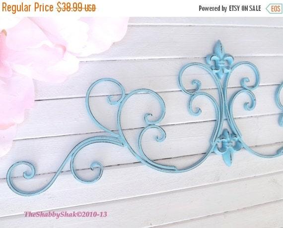 Aqua Wall Decor / Wrought Iron /Fleur De Lis Wall By