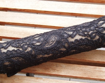 LACE ARM WARMERS, black, Paisley pattern