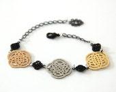 Celtic universe bracelet ,adjustable chain bracelet, 24 karat rose and oxidize silver plated bracelet.