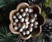 Custom listing for Ginger: Felted wool acorns, 50 Rainbow Opal White + 6 Light Pink