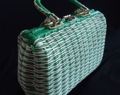 Green & White WOVEN Basket Vintage 1960's Women's Barrel Handbag Purse