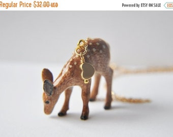 SALE Deer Necklace, Fawn Necklace, Woodland Necklace, Animal Necklace, Nature Necklace, Unique Necklace, Animal Jewelry, Nature Jewelry, dee