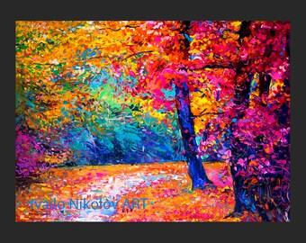 Fall Colors4-Original Oil Landscape Painting on canvas-- 27 x 24 Rich Impressionistic Art by Ivailo Nikolov