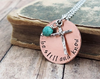 Be Still and Know Necklace - Christian Jewelry - Scripture Necklace - Bible Verse Jewelry - Inspirational Gift - Psalm 46:10