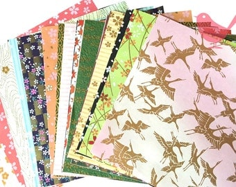 Scrap Pack - Japanese rice and origami paper ephemera, paper scraps (lot 1)