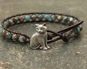Unique Cat Jewelry Silver Bronze Teal Blue Turquoise Cat Bracelet Cat Lover's Single Leather Wrap Bracelet