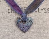 Colorful Heart Jewelry Hand Dyed Silk Ribbon Necklace Blue Lavender Purple Heart Necklace Unique Bluebird Jewelry