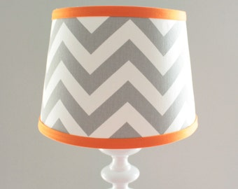Chevron lamp shade etsy small white gray chevron lamp shade with accent orange other colors available aloadofball Image collections