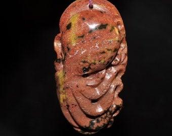 23x47x12mm Soooo Alive~Excellent Carving Madagascar Oolitic Orbicular OCEAN JASPER Octopus Hand-Carved 3D Large Focal Pendant - B1052