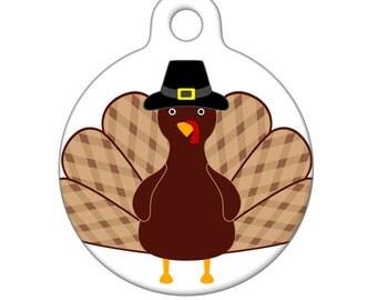 Pet ID Tag - Thanksgiving Turkey Pet Tag, Dog Tag, Cat Tag