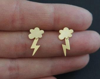 Cloud and Lightning Earrings, Lightning Bolt Earrings, Sterling Silver Posts, Cloud Earrings, Birthday Gift