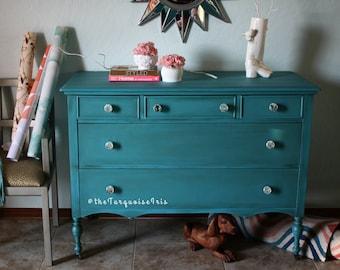 Antique Teal Dresser / Chest  Glass Knobs Bedroom / Vanity / Bathroom / Buffet