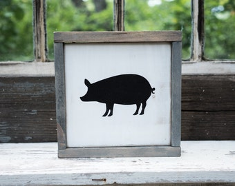 Pig Silhouette Sign Rustic Country Kitchen decor farmhouse decor, cottage decor, kitchen sign, rustic sign, barnwood pig cutout, bacon sign