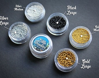 LITTLE BEADIES - small and mini beads for crafting Gold Silver Black Miniature eyes decor pearls