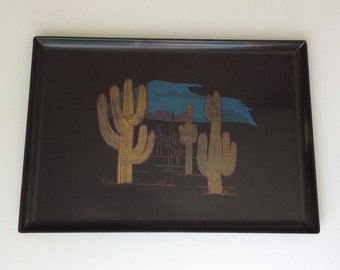 Couroc of Monterey Large Tray Sonoran Desert at Dusk Saguaro Cactus
