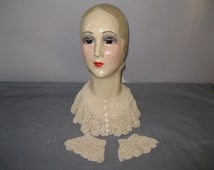 1930s Crochet Collar and Cuffs - 30s Peach Accessory Set
