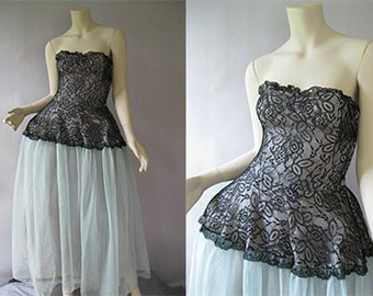 Strapless 40s Party Dress - Vintage 1940s Dress - Lace Sweetheart Gown -  Dior Style New Look