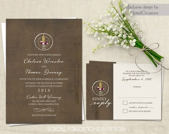 vineyard wedding invitations rustic winery wedding vineyard wedding invites vintage wine country printed or printable diy - Winery Wedding Invitations