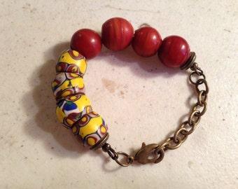 African Trade Bead Bracelet - Brass Jewelry - Boho Jewellery - Beaded - Chain - Funky - Mod