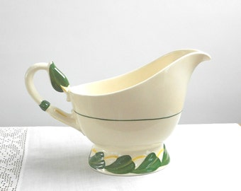 Vintage Vernon Ware Gravy or Sauce Boat Philodendron Pattern California Pottery 1940s Retro Kitchen Dinnerware Dining Home Decor