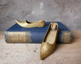 Two Vintage Brass Shoe Ashtrays Pen Paperclip Holder Incense Burners Boho Chic Hippie Home or Office Decor Paperweight Desk Accessories