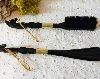 Vintage Black Horse Head~Shoehorn~Shoe Shine~Lint brush set Of Two
