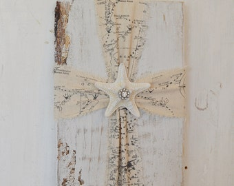 Fabric Cross, Fabric Cross on Wood, Coastal Cross, Coastal Wall Decor