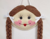 Doll Face Hair Clip Holder - Light skin with Light Brown Hair - Barrette Holder - Felt Hair Clip Holder - Custom Hair Clip Holder