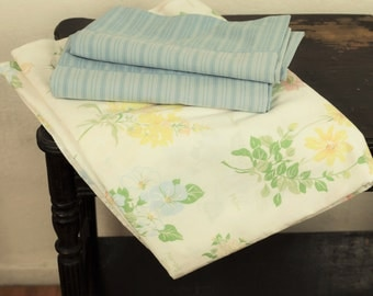 Vintage Full Sheet Set Remixed Linens Size Double Pastel Flower Names W/ Solid Blue King Pillowcases Floral Bedding Shabby Style Decor