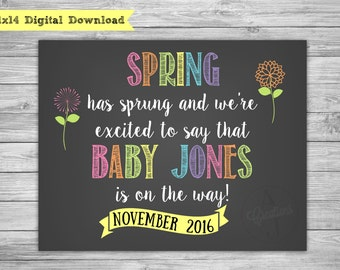 Spring Pregnancy Announcement - Pregnancy Reveal Photo Prop -- Baby Announcement Chalkboard Poster - Printable Pregnancy Announcement Sign