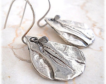 """Sterling Silver """"Fossil""""  FEATHER EARRINGS, Boho Style Earthy Fashion Accessory, Feather, Native American, earthy, natural"""