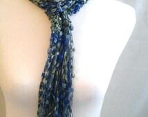 Hand Crochet  Trellis Ladder Ribbon Scarf