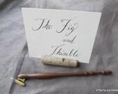 Oblique Ipe Dip Pen - Calligraphy Pen Holder Hand Turned Zanerian Flange