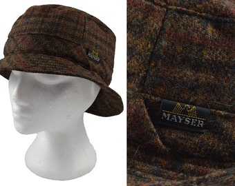 SALE Vintage Brown Wool Trilby by Mayser, Check Pattern, Country Style, Ladies Hat