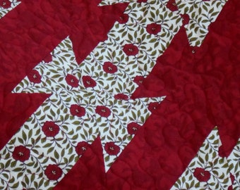 QUILT THROW BLANKET  58 x 51 inches in Green Red and White. Fabrics by Studio E designer B K Lantz