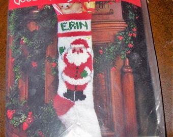 "Kit : Good Shepherd Hand Knit  Knitted Christmas Stocking  ""Santa's Greeting"""