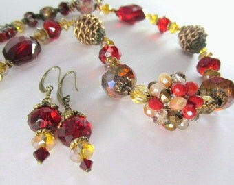 Chunky Necklace and Earring Set in Marsala Dark Red and Gold on Brass