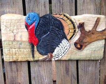 """Wild Turkey Scene 24"""" chainsaw carving wooden wild bird sculpture wall art hand painted rustic home decor sealed indoor or outdoor display"""