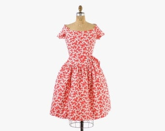 Vintage 50s Floral DRESS / 1950s Red & White Floral Cotton Full Skirt Party Dress S