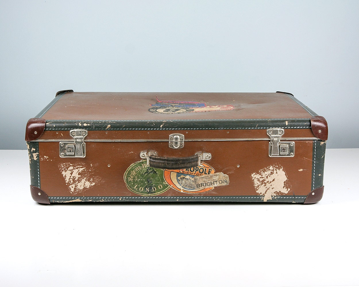 Vintage Suitcase Trunk With Vintage Travel Stickers Vintage