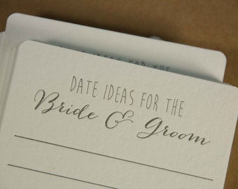 50 square Date ideas for the BRIDE & GROOM Coasters, (Letterpress printed, 3.5 inch) set of 50