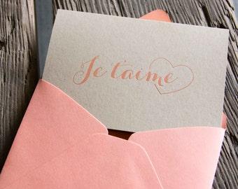 Je t'aime, letterpress printed card. Eco friendly