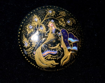 Vintage Russian Hand Painted Story Book Brooch Pin