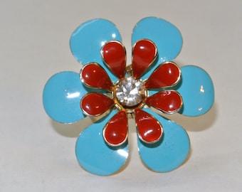 Vintage Groovy Metal Flower Ring