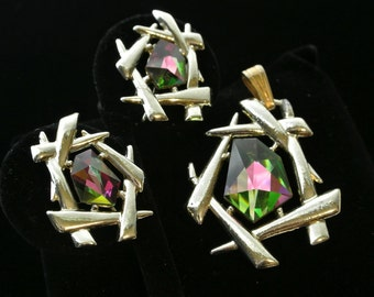 Vintage Sarah Coventry Chinese Modern Pendant And Earrings