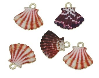 2 Seashell Charms Antique Gold Tone with Enamel - E042