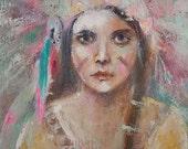 original native american portrait painting  k d milstein fadedwest