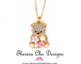 Lovely Teddy Bear Pendant, Swarovski Crystals Pearls, Rose Cabochon, Flower Pendant Gold Pendant NK-0030-G
