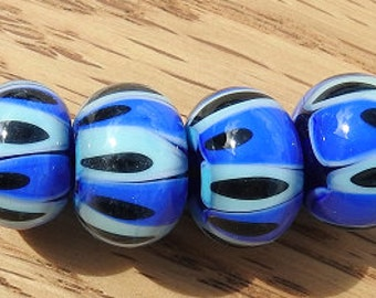 Blue - lampwork bead set