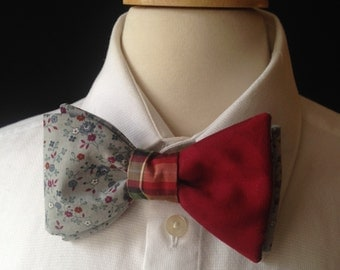 Gray And Red Bow Tie / Bow Ties For Men / Country Wedding / Custom Made Bow Ties / Gray Floral Pre-Tied Style Bow Ties / Retro Wedding